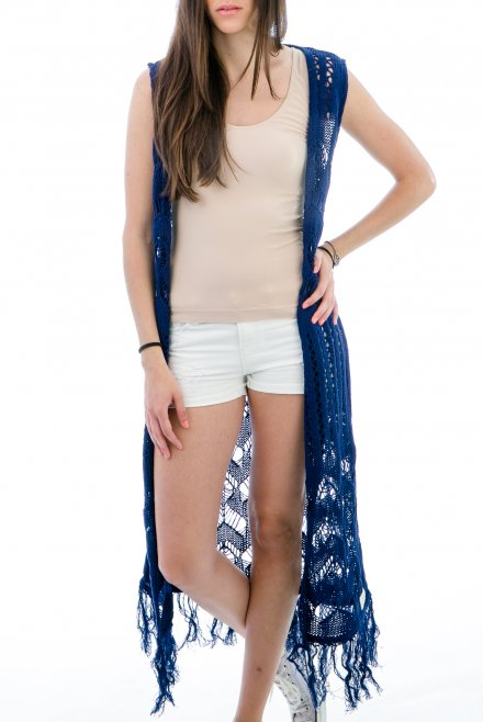 Lacy Longline Camisole with fringes blue