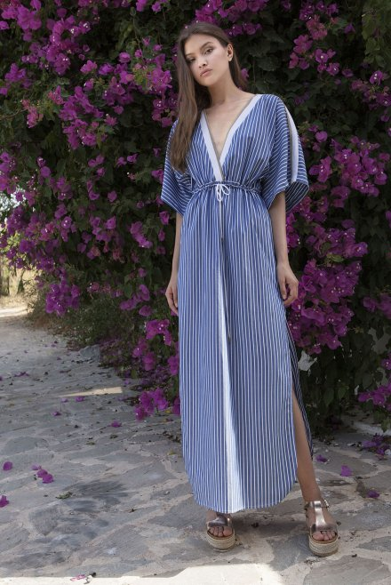 Maxi ve-neck dress with stripes