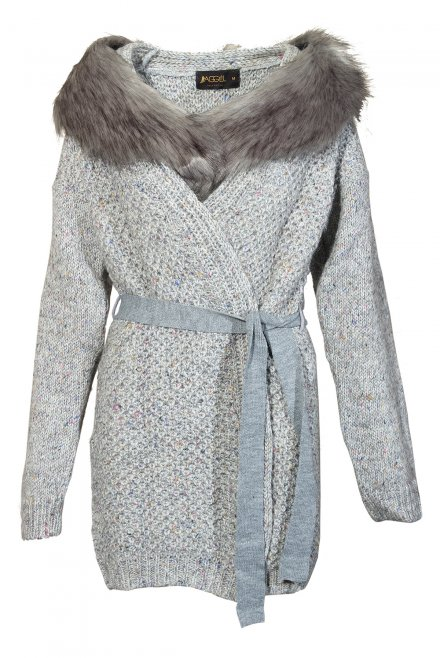 Furry neck cardigan with belt