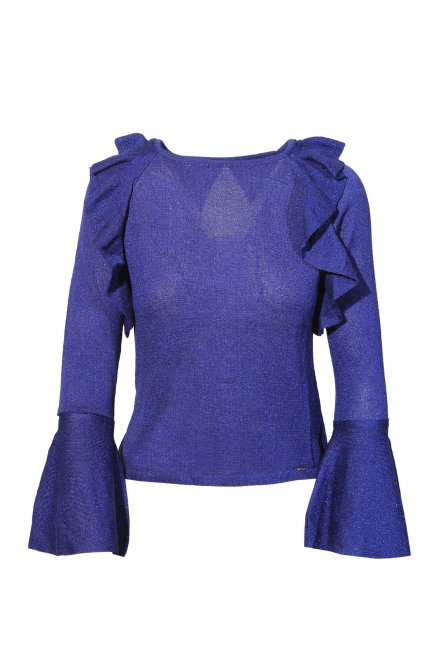Lurex blouse with volan and bell sleeve