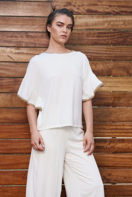 Blouse with ruffle sleves