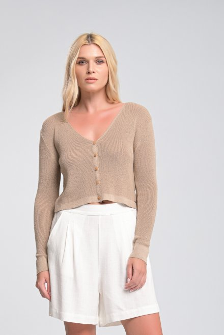 Ribbed cardigan with V-neck
