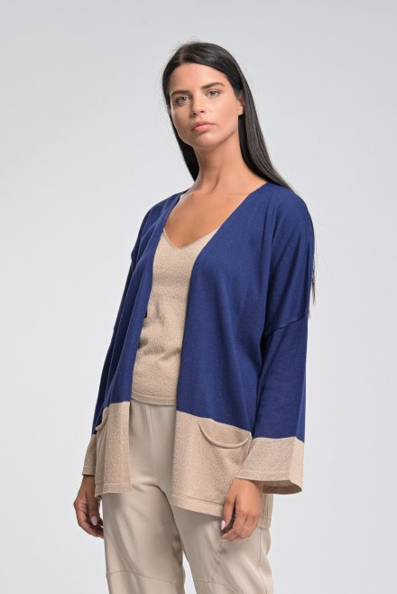 Knitted cardigan with lurex and pocket