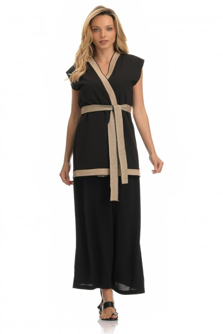 Kimono style without sleeves with knitted details  96% PES-SP 4%