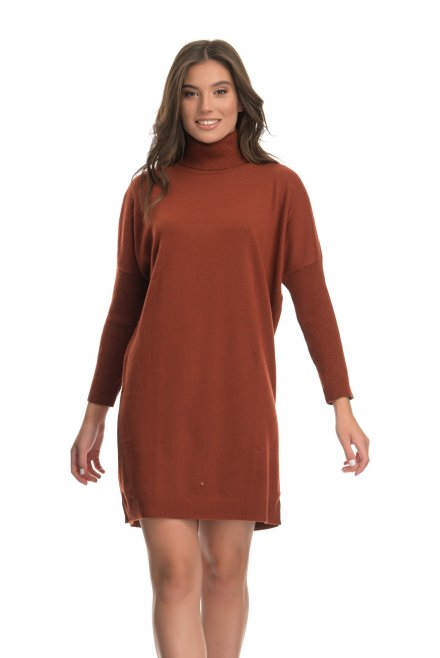 Cashmere blend turtleneck relaxed mini dress