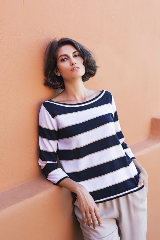 Cotton blend 3/4 sleeved striped sweater