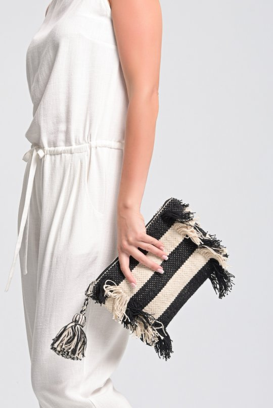Cotton woven fringed clutch bag